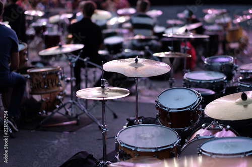 Drums and cymbals sets of drummers musicians at the Percussion Music Festival - 221875754