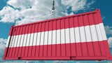 Container with flag of Austria. Austrian import or export related conceptual 3D animation - 221877366