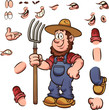 Cartoon farmer with different expressions holding a pitchfork. Vector clip art illustration with simple gradients. Some elements on separate layers.  - 221879963