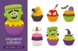 Cute halloween cupcake collection - 221884376