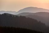 Forest Mountain Range Scene at Sunrise. Mountain panoramic landscape. - 221886159