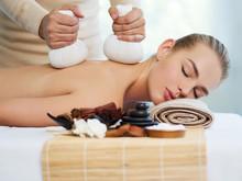 "Постер, картина, фотообои ""Woman getting  massage with hot stones"""