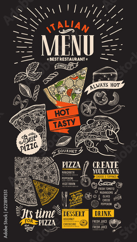 Poster Pizza restaurant menu. Food flyer for bar and cafe on blackboard background. Design template with vintage hand-drawn illustrations.
