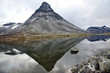 reflection of a large mountain in the lake