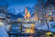 Leinwanddruck Bild - Church of Ramsau in winter twilight, Bavaria, Germany