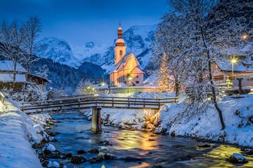 Church of Ramsau in winter twilight, Bavaria, Germany © JFL Photography