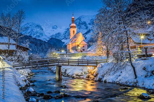 Leinwanddruck Bild Church of Ramsau in winter twilight, Bavaria, Germany