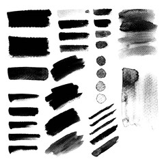 Grunge watercolor paint stains. Black hand painted brush strokes for decorate banner and printing design. Vector illustration.