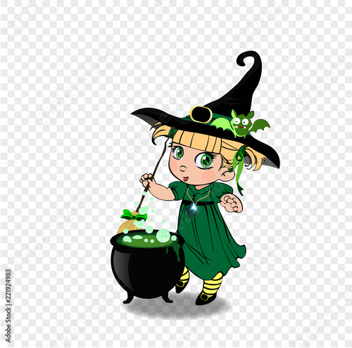Halloween clip art character of anime blonde baby witch girl in green dress with cauldron - 221924983