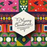 Christmas vintage folk holiday background card - 221927125
