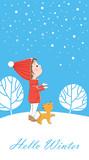 Открытка с маленькой девочкой и щенком, которые смотрят на снежинки. - 221928327