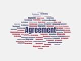 Das Wort - Agreement - abgebildet in einer Wortwolke mit zusammenhängenden Wörtern