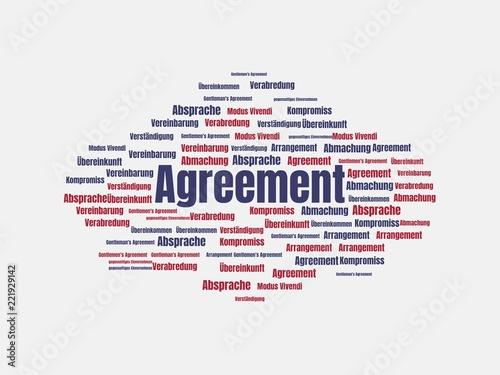 Leinwanddruck Bild Das Wort - Agreement - abgebildet in einer Wortwolke mit zusammenhängenden Wörtern