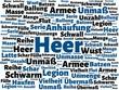 Das Wort - Heer - abgebildet in einer Wortwolke mit zusammenhängenden Wörtern - 221929323