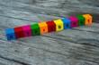 Farbige Holzwürfel mit Buchstaben auf dem das Wort Betriebsrat abgebildet ist, Abstrakte Illustration - 221930137