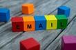 Farbige Holzwürfel mit Buchstaben auf dem das Wort Email abgebildet ist, Abstrakte Illustration - 221930183
