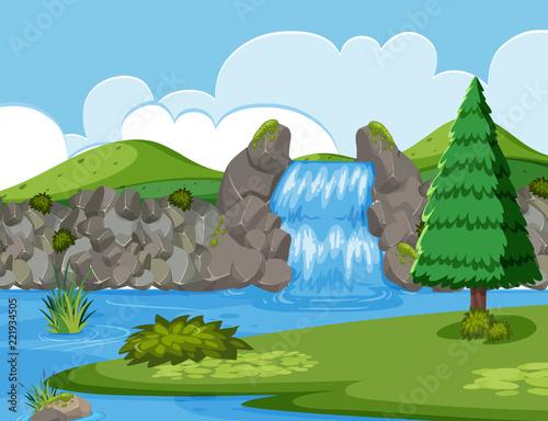 Scena drewniana rzeka wodospad