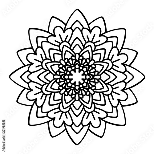 Flower Mandala Vector Illustration Adult Coloring Page Circular Abstract Floral Oriental Pattern Vintage