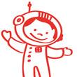 Handgezeichneter Astronaut in rot