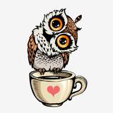 Vector cute Owl Hand drawn cartoon character.