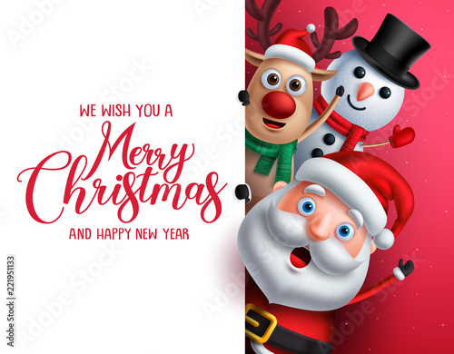 merry christmas greeting template with santa claus snowman and reindeer vector characters singing while holding