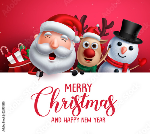 merry christmas greeting template with santa claus snowman and reindeer vector characters singing christmas carol