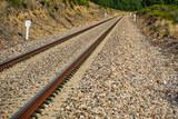 Railway detail, wide angle closeup view - 221952923