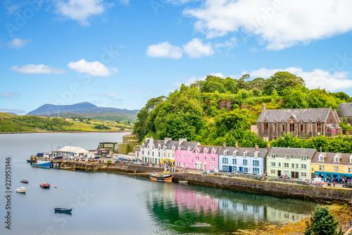 Leinwanddruck Bild landscape of the Portree harbor in scotland, uk