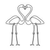 Two flamingos one continuous line drawing isolated on white background.