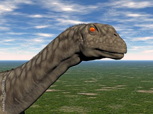 Fototapeta Brachiosaurus Dinosaurier auf freiem Feld