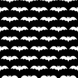 Black and white vector seamless pattern background with bats silhouettes for Halloween design. - 221955909