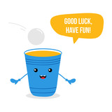 Cute cartoon vector beer cup character, smiling, wishing good luck and have fun in beer pong game. - 221955950