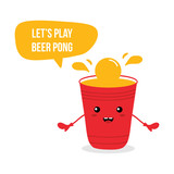Cute cartoon vector beer cup character, smiling, asking to play beer pong game. - 221955962