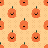Cute smiling pumpkins emoji characters and dots seamless pattern background for autumn, fall design. - 221955972