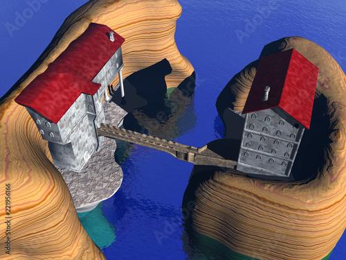 Sticker Inseln mit Seebrücke