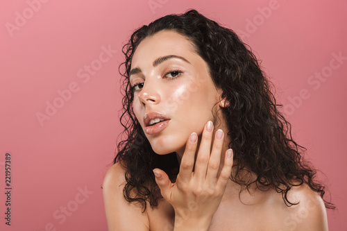 Beauty portrait of an attractive young topless woman - 221957389
