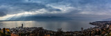 Panorama view of Montreux during dramatic stormy clouds weather with sun rays, Swiss Alps, Geneva  Lake on Lavaux region, Canton Vaud, Switzerland, Europe. - 221961100