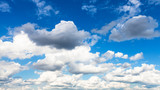 panoramic view of cumulus white and gray clouds - 221962306