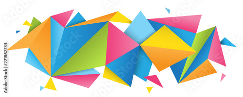 Fototapeta Colorful abstract folded paper triangles banner