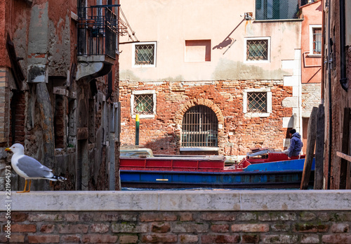 red and blue barge transits in a peripheral channel in one working day,Venice. Italy - 221964573