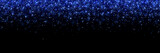 Lilac glittering particles on black background, wide banner. Vector © lavabereza