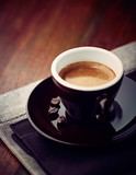 Cup of Espresso Coffee on rustic wooden table. Close-up. Copy space - 221968382
