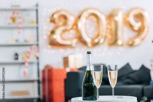 Champagne Bottle And Glasses With 2019 New Year Balloons On