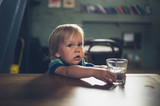 Little toddler at table in cafe - 221973119