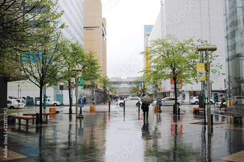 Fototapeta Asahikawa, Japan town rain day at 2017