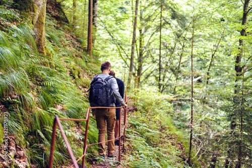 Friends hiking in Fagaras Mountains - 221978923