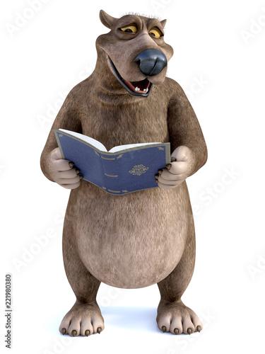 3D rendering of a cartoon bear reading a book. - 221980380