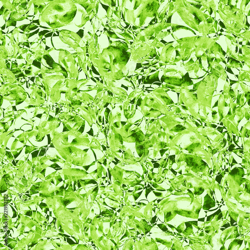 Leinwandbild Motiv Watercolor floral seamless background, texture of leaves, grasses, plants. Juniper, moss, wild grass, green plants. Natural wood pattern. Beautiful pattern for your design. Abstract green background
