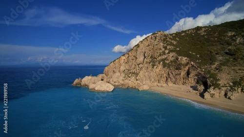Aerial view of Kalamitsi beach, Ionian Sea, Lefkada island, Greece.