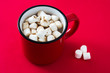 Christmas cocoa with marshmallow in mug on red background.